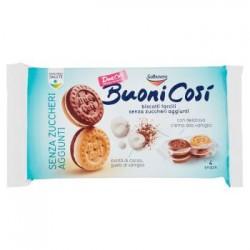 Galbusera Buoni Così Biscotti Farciti con Crema alla Vaniglia Senza Zuccheri Aggiunti 4 Snack