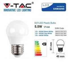 V-TAC PRO Lampadina LED E27 5,5W MINIBULBO G45 CHIP SAMSUNG BIANCO CALDO VT-246