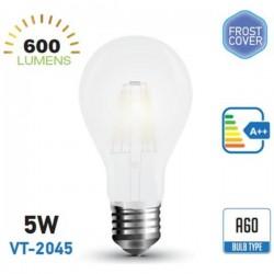 V-TAC Lampadina LED E27 5W BULBO A60 FILAMENTO BIANCO FREDDO VT 2045