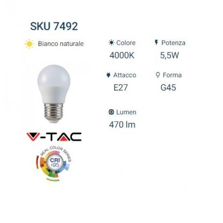 V-TAC Lampadina LED E27 5,5W MiniGlobo G45 CRI 95 BIANCO NATURALE VT 2216